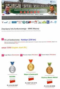 1 miejsce MWG Mazury lot konkursowy nr. 3